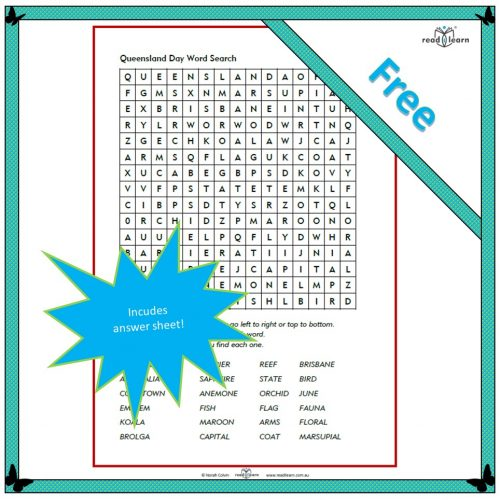 Queensland Day Word Search