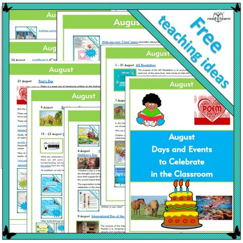 August Days and Events to Celebrate in the Classroom