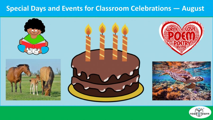 Special Days and Events for Classroom Celebrations — August.