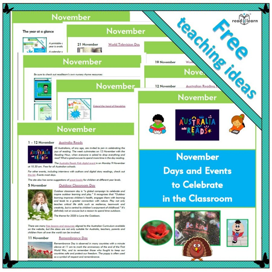 November Days and Events to Celebrate in the Classroom