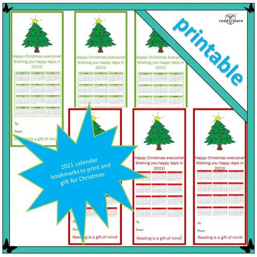 2021 calendar booksmarks to print and gift