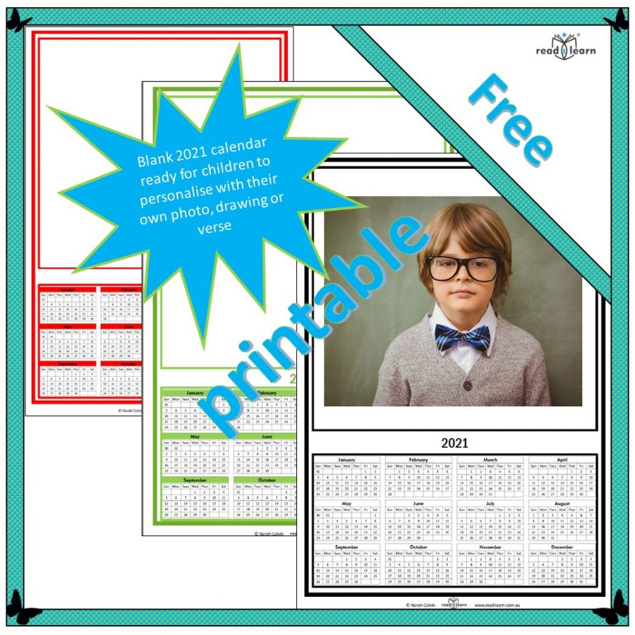 2021 calendar to personalise