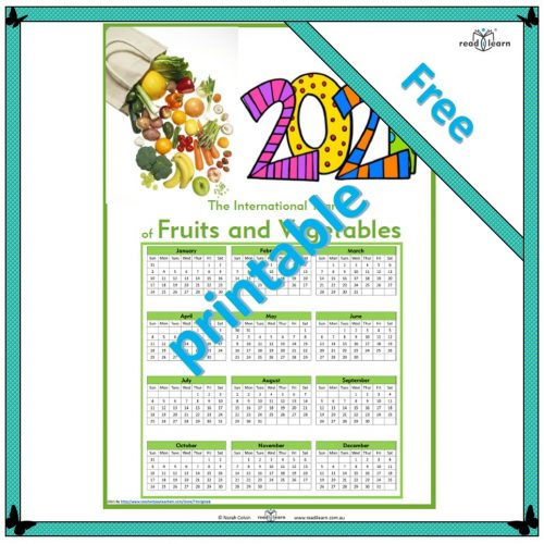 2021 international year of fruits and vegetables calendar
