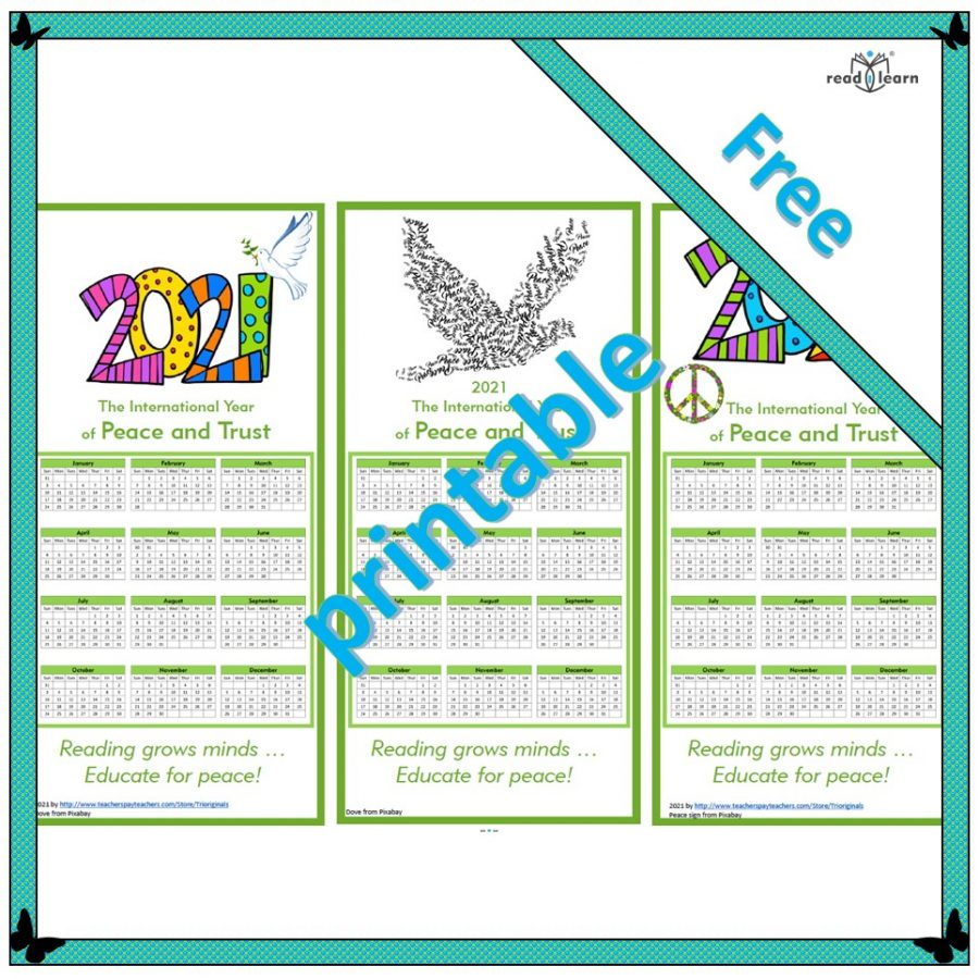 2021 international year of peace and trust calendar bookmarks